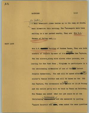 Primary view of object titled '[News Script: Rayburns]'.