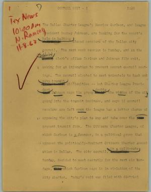 Primary view of object titled '[News Script: Council Suit]'.