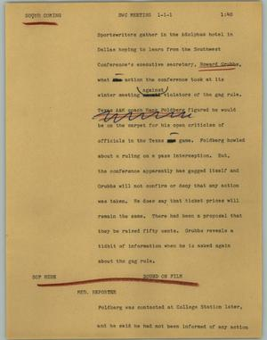 Primary view of object titled '[News Script: SWC meeting]'.