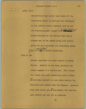 Primary view of object titled '[News Script: Burleson parade]'.