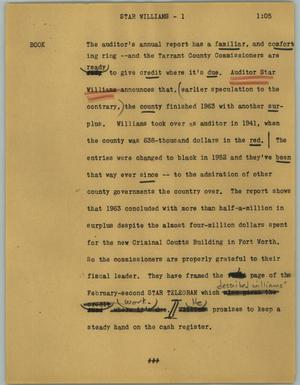 Primary view of object titled '[News Script: Star Williams]'.