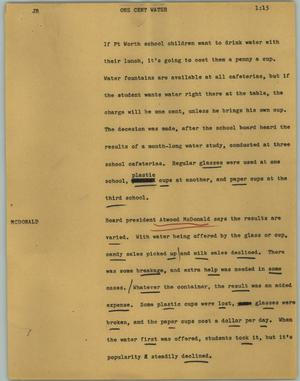 Primary view of object titled '[News Script: One cent water]'.