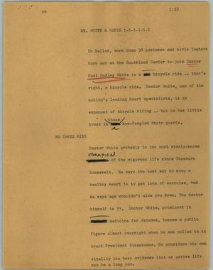 Primary view of object titled '[News Script: Dr. White & bikes]'.