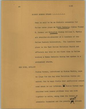 Primary view of object titled '[News Script: Bishop Gorman speaks]'.