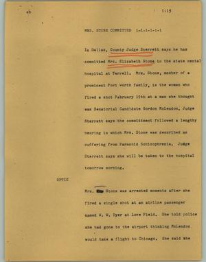 Primary view of object titled '[News Script: Mrs. Stone committed]'.