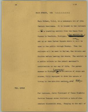 Primary view of object titled '[News Script: Main Street, USA]'.