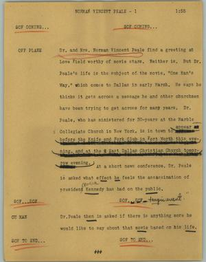 Primary view of object titled '[News Script: Norman Vincent Peale]'.