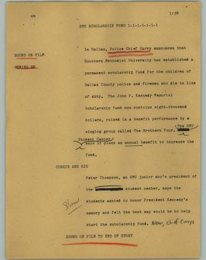 Primary view of object titled '[News Script: SMU scholarship fund]'.