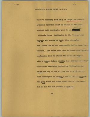 Primary view of object titled '[News Script: Washington murder trial]'.