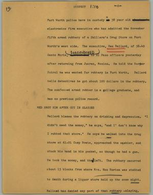 Primary view of object titled '[News Script: Suspect]'.