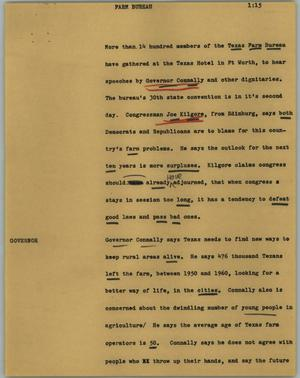 Primary view of object titled '[News Script: Farm Bureau]'.