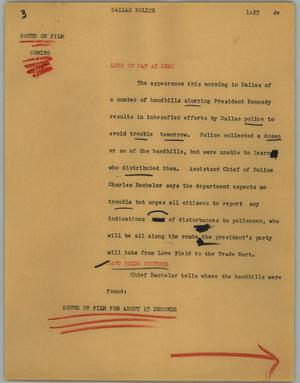Primary view of object titled '[News Script: Dallas police]'.