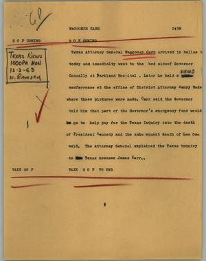 Primary view of object titled '[News Script: Waggoner Carr]'.