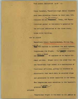 Primary view of object titled '[News Script: High school dedication]'.