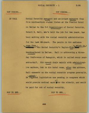 Primary view of object titled '[News Script: Social security]'.