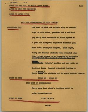 Primary view of object titled '[News Script: Paschal]'.