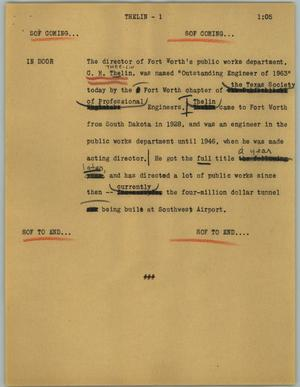 Primary view of object titled '[News Script: Thelin]'.
