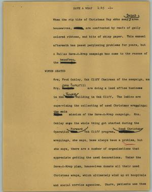 Primary view of object titled '[News Script: Save a wrap]'.