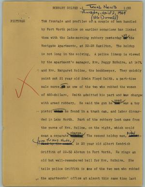 Primary view of object titled '[News Script: Robbery solved]'.