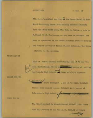 Primary view of object titled '[News Script: Scientists]'.