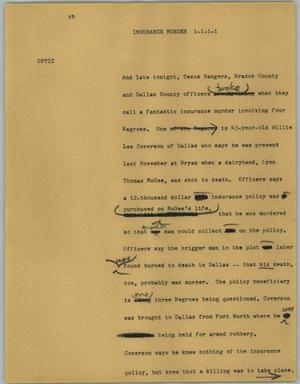 Primary view of object titled '[News Script: Insurance murder]'.