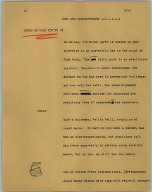 Primary view of object titled '[News Script: Ruby and correspondent]'.