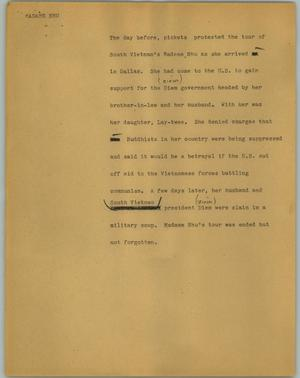 Primary view of object titled '[News Script: Madame Nhu]'.