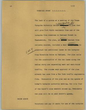 Primary view of object titled '[News Script: Turnpike story]'.