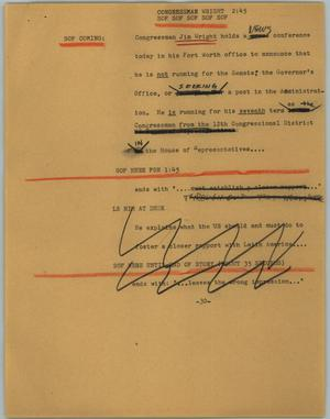 Primary view of object titled '[News Script: Congressman Wright]'.