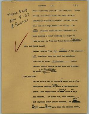 Primary view of object titled '[News Script: Election]'.