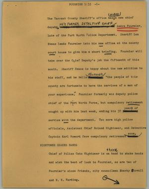 Primary view of object titled '[News Script: Fournier]'.