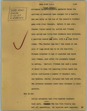 Primary view of object titled '[News Script: Near riot]'.