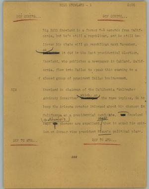Primary view of object titled '[News Script: Bill Knowland]'.