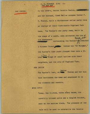 Primary view of object titled '[News Script: S. S. Miramar]'.