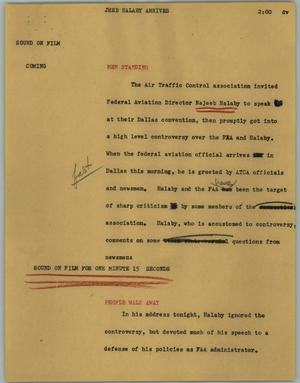 Primary view of object titled '[News Script: Jeeb Halaby arrives]'.