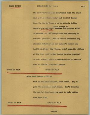 Primary view of object titled '[News Script: Police school]'.