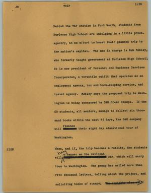 Primary view of object titled '[News Script: Trip]'.