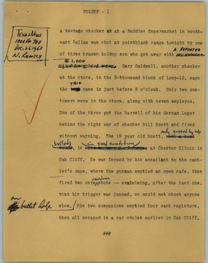 Primary view of object titled '[News Script: Holdup]'.