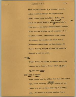 Primary view of object titled '[News Script: Diamond]'.