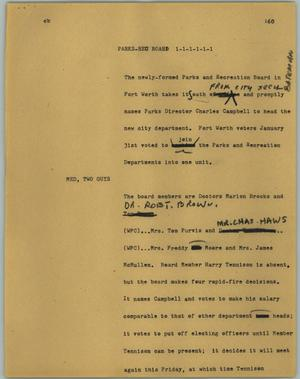 Primary view of object titled '[News Script: Parks-Rec board]'.