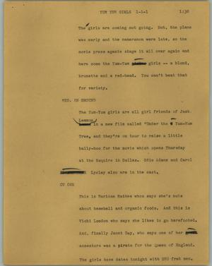 Primary view of object titled '[News Script: Yum yum girls]'.