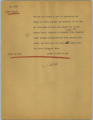Primary view of object titled '[News Script: Dr. Dunn]'.