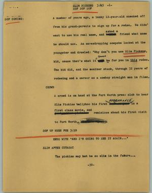 Primary view of object titled '[News Script: Slim Pickens]'.