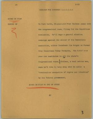 Primary view of object titled '[News Script: Dielman for congress]'.