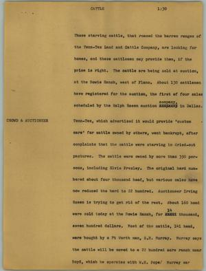 Primary view of object titled '[News Script: Cattle]'.