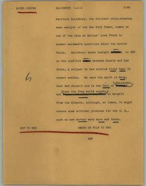 Primary view of object titled '[News Script: Salisbury]'.