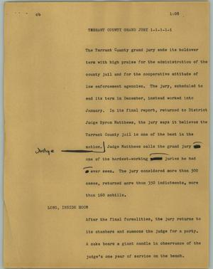 Primary view of object titled '[News Script: Tarrant County Grand Jury]'.
