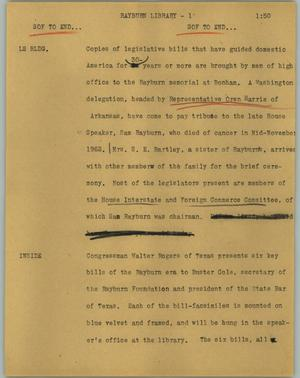 Primary view of object titled '[News Script: Rayburn library]'.