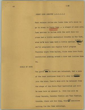 Primary view of object titled '[News Script: Perry Como arrives]'.