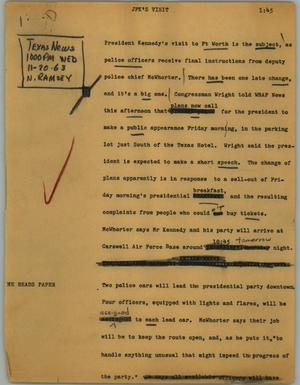 Primary view of object titled '[News Script: JFK's visit]'.